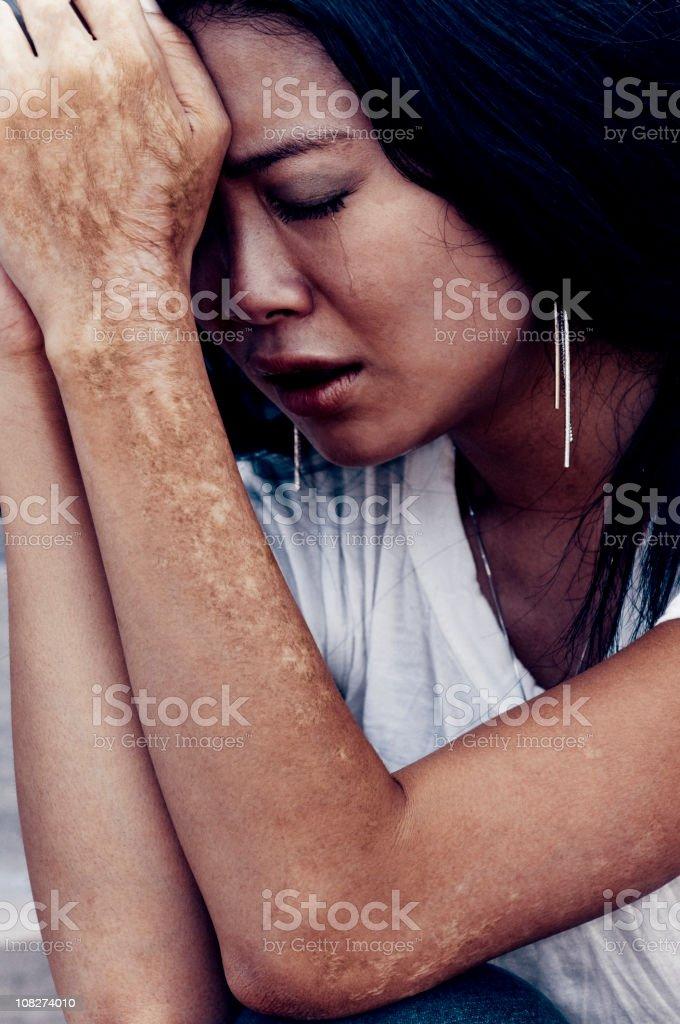 Asian Woman Crying royalty-free stock photo
