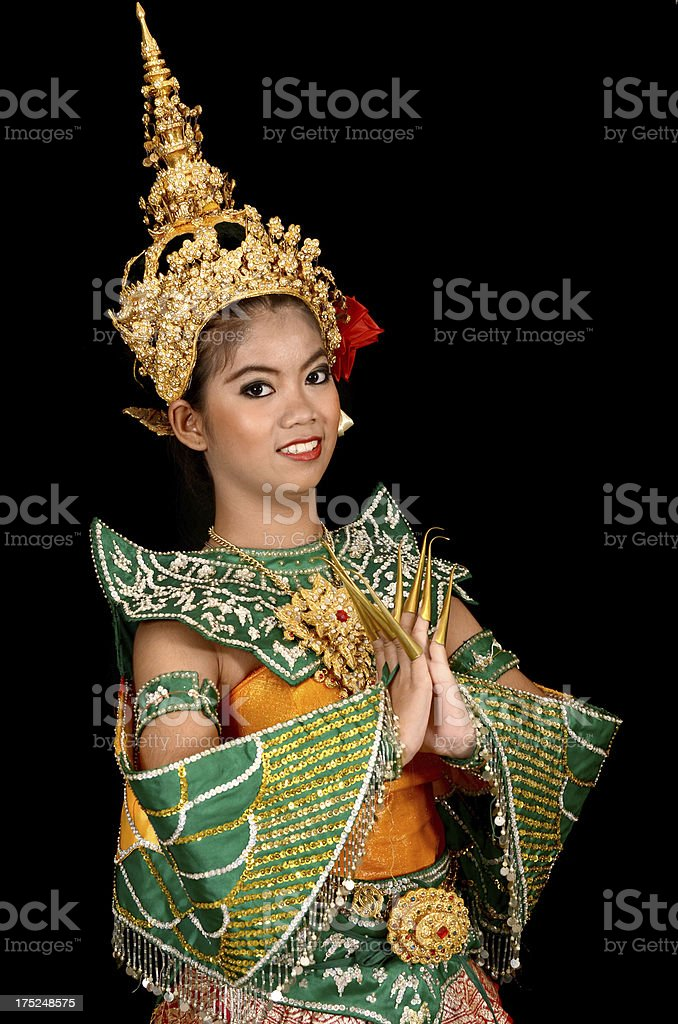 Asian Woman Dancers in Suit of Bird and Sawasdee Action royalty-free stock photo