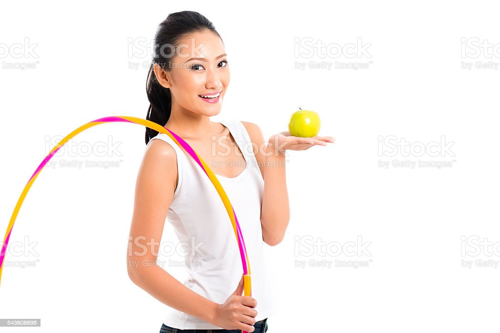 Asian woman eating and living healthy stock photo