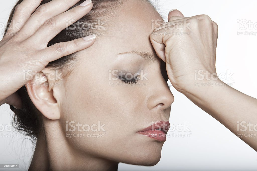asian woman expression headache pain sadness depression confusion royalty-free stock photo