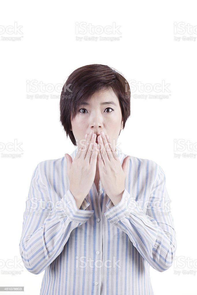 asian woman frightened with something stock photo