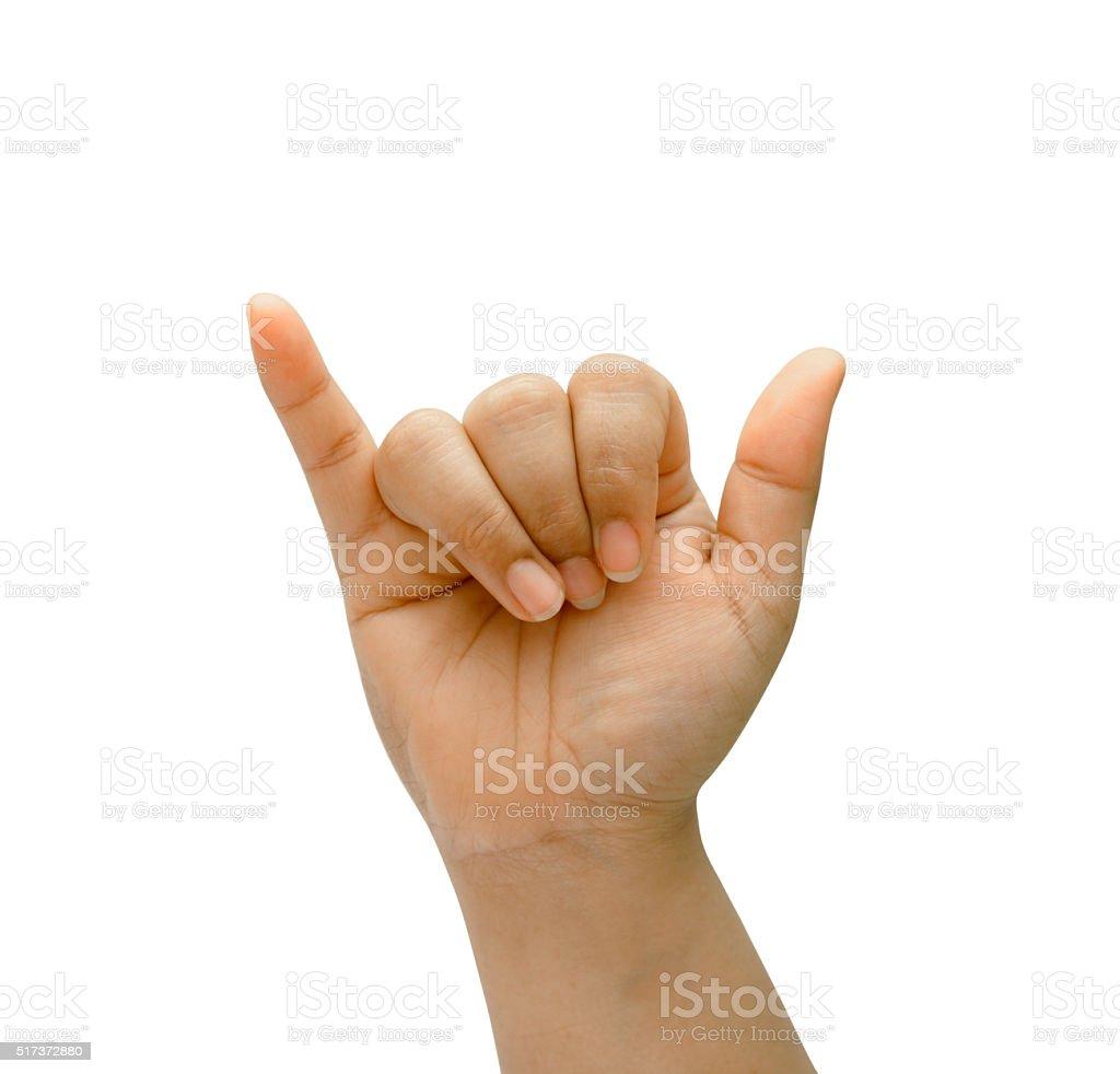 Asian woman hand  on isolated. Shaka sign. stock photo