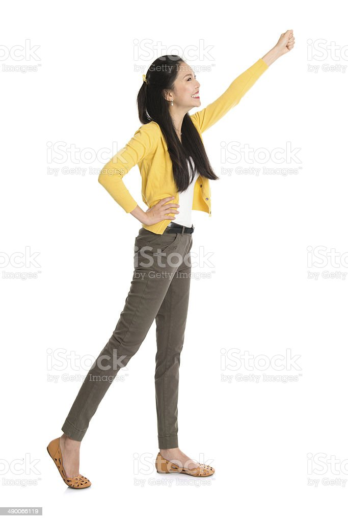 Asian woman hand reaching stock photo