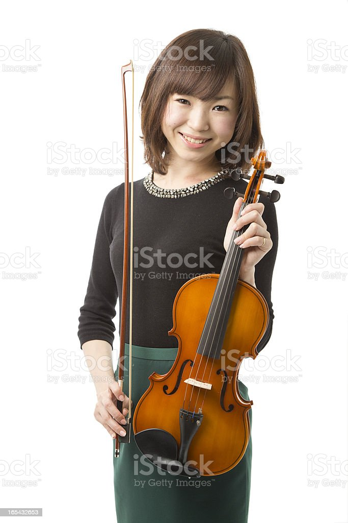 Asian Woman Holding Her Violin royalty-free stock photo