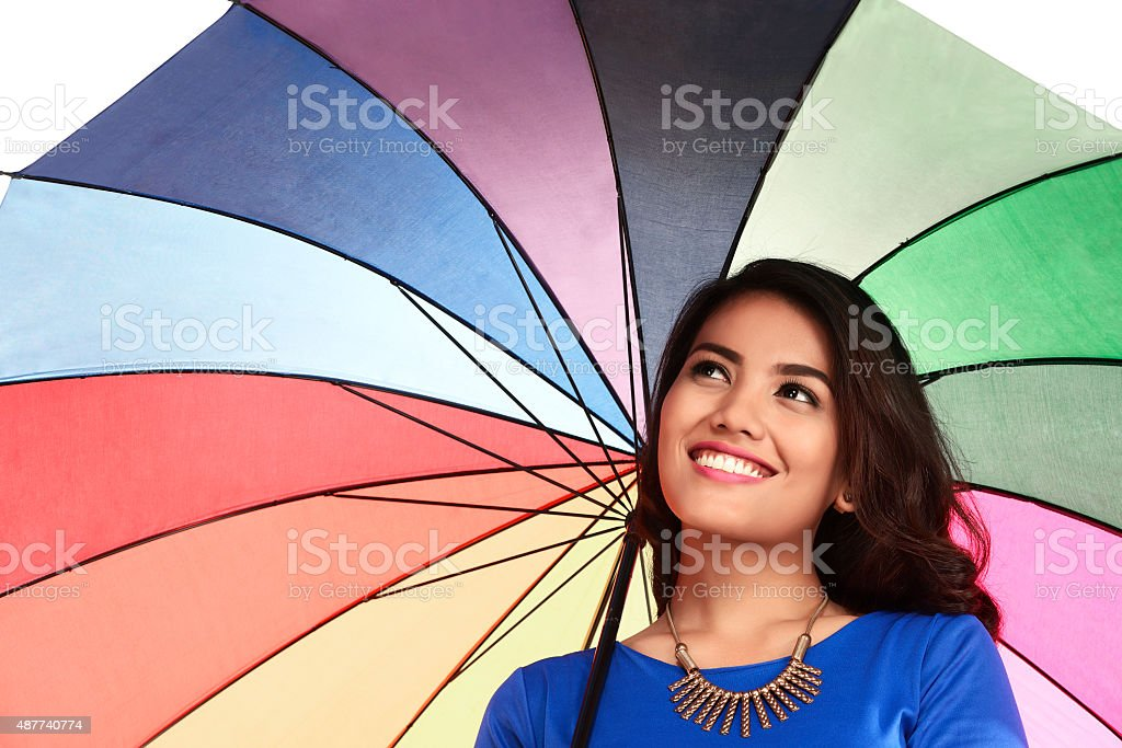 Asian Woman Holding Umbrella stock photo