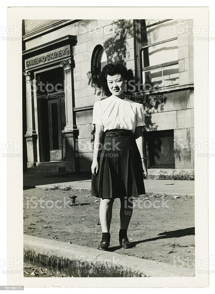 Asian Woman in an Empty Street royalty-free stock photo