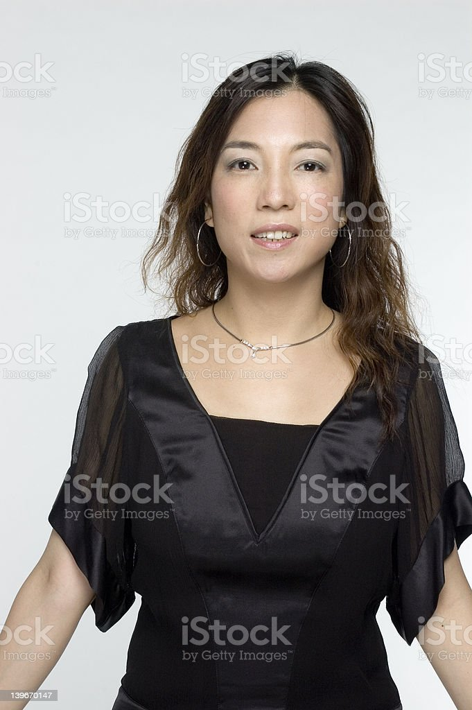 asian woman in black dress royalty-free stock photo