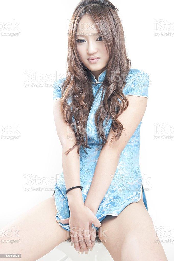 asian woman in blue Cheongsam royalty-free stock photo