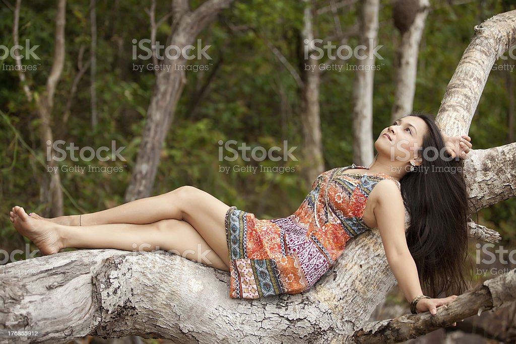asian woman in nature royalty-free stock photo