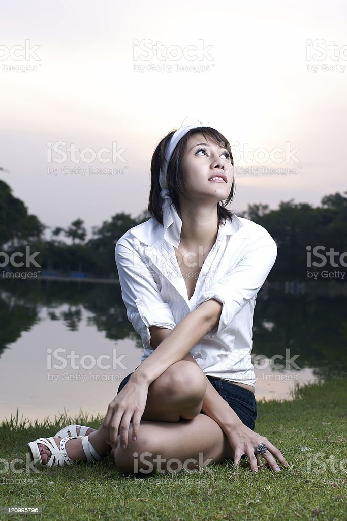 Asian woman in park royalty-free stock photo