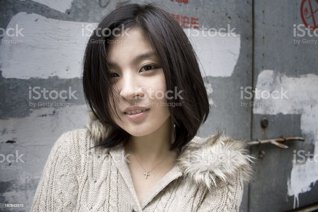 Asian woman in street royalty-free stock photo