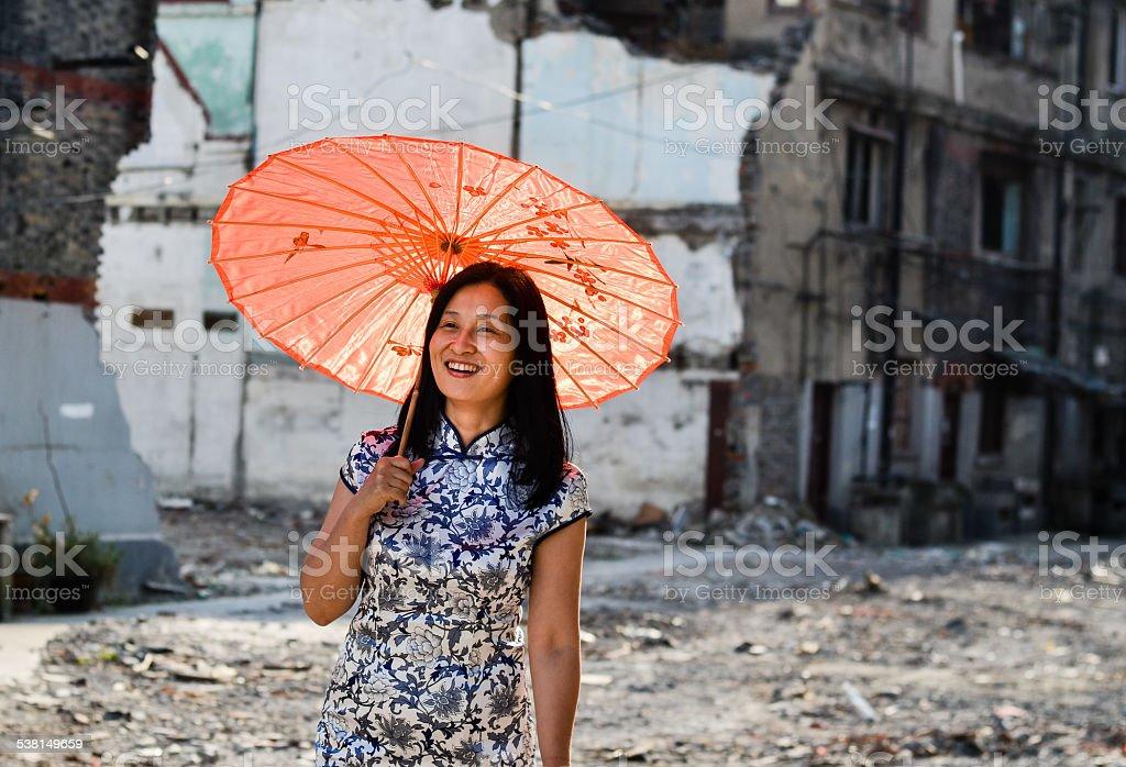 Asian woman in urban scene stock photo
