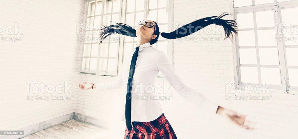 Asian woman jumping stock photo