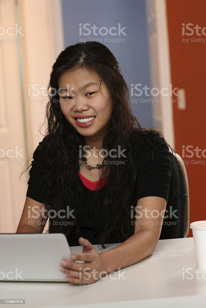 Asian Woman on the laptop royalty-free stock photo