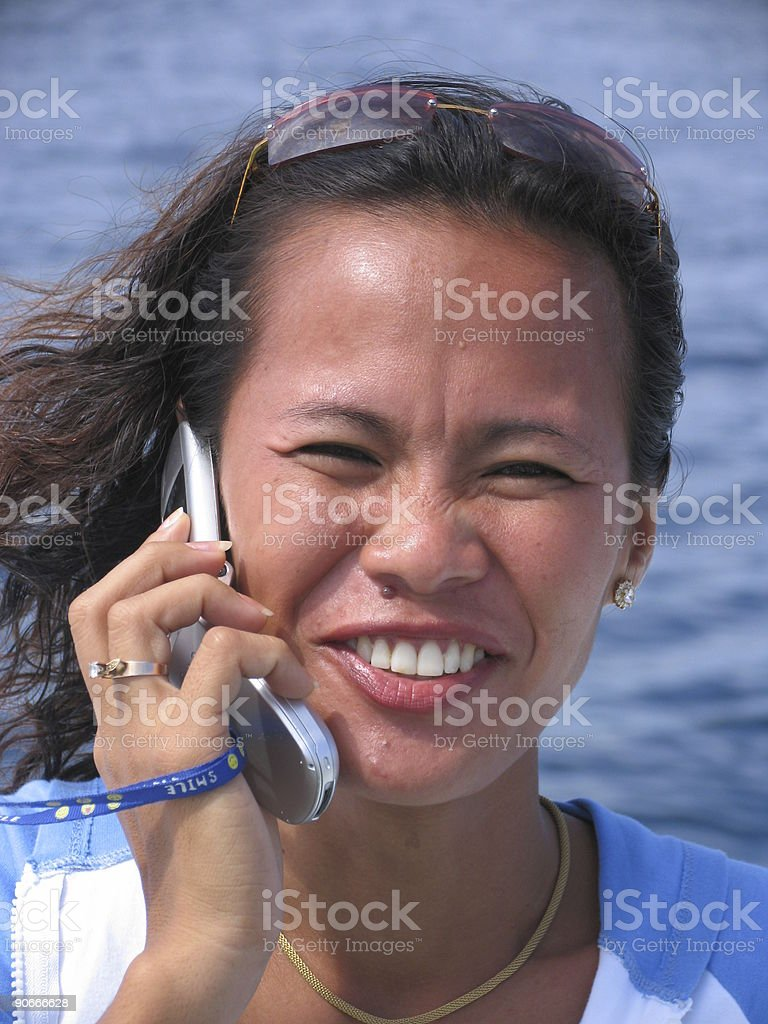 Asian woman on the phone 3 royalty-free stock photo