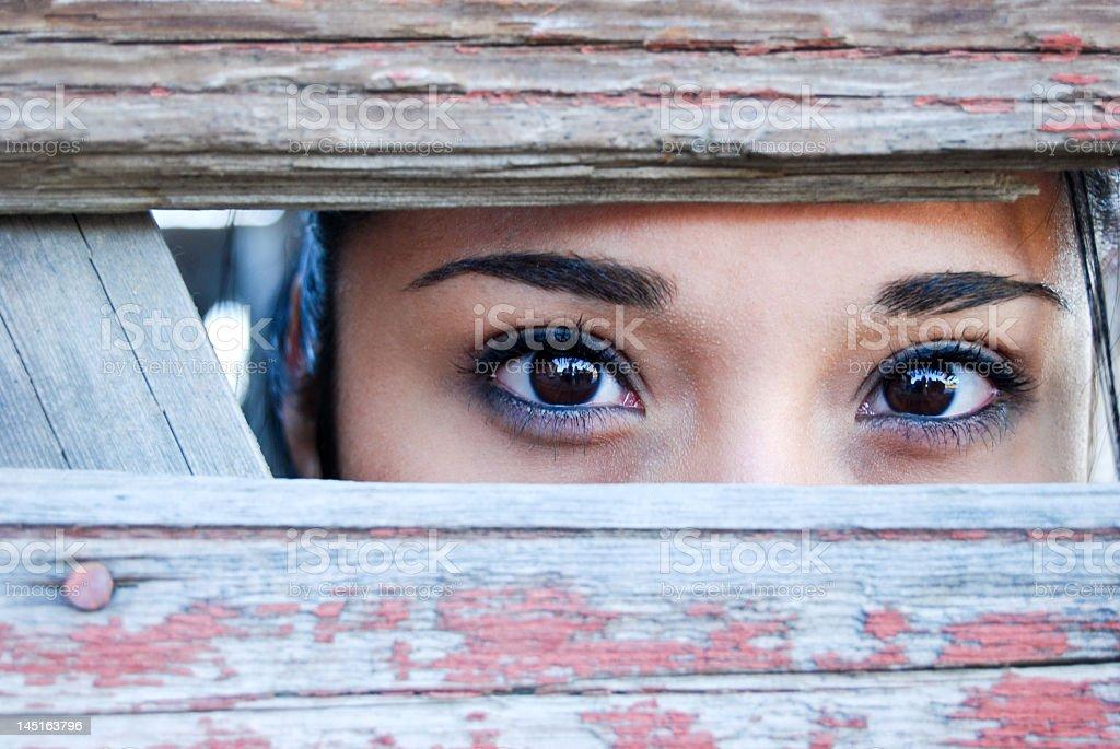Asian woman peeping through wood fences stock photo