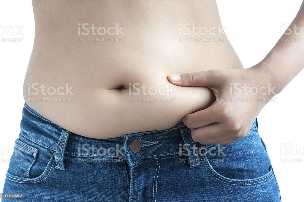 Asian Woman Pinching Belly Fat On Her Midriff stock photo
