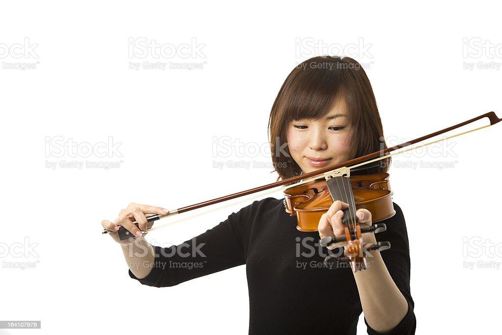Asian Woman Playing the Violin royalty-free stock photo