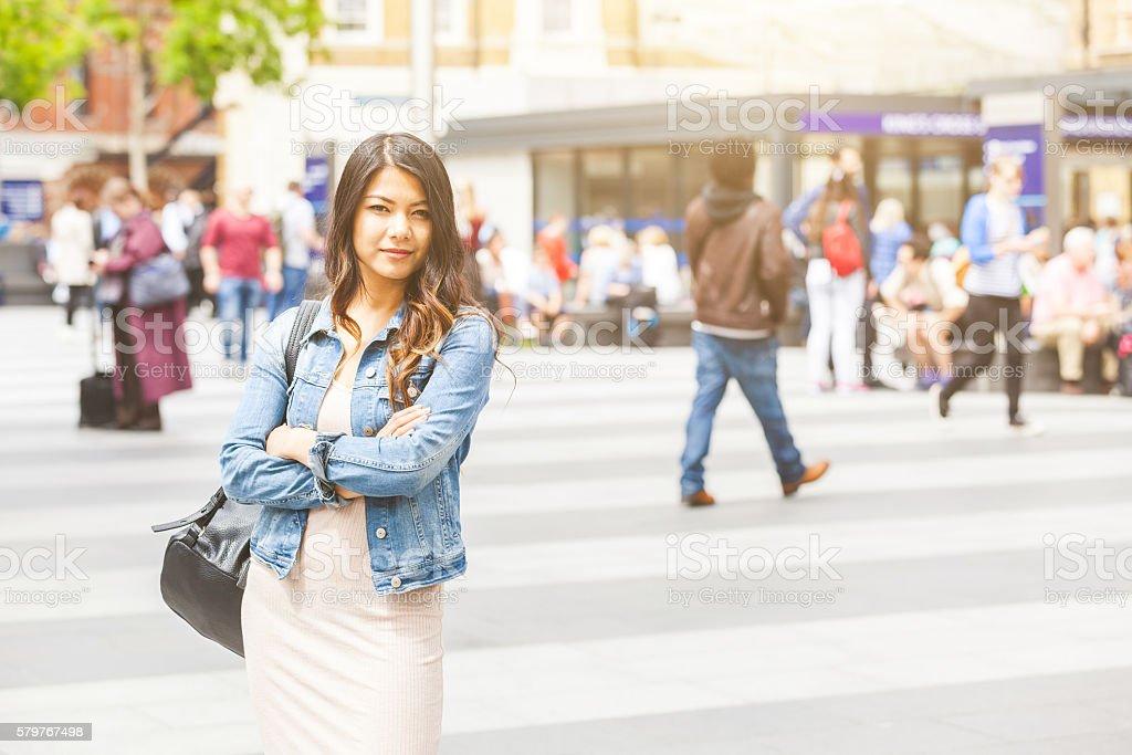 Asian woman portrait in London stock photo