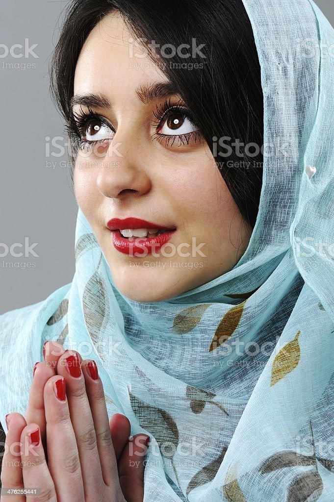 Asian woman praying royalty-free stock photo