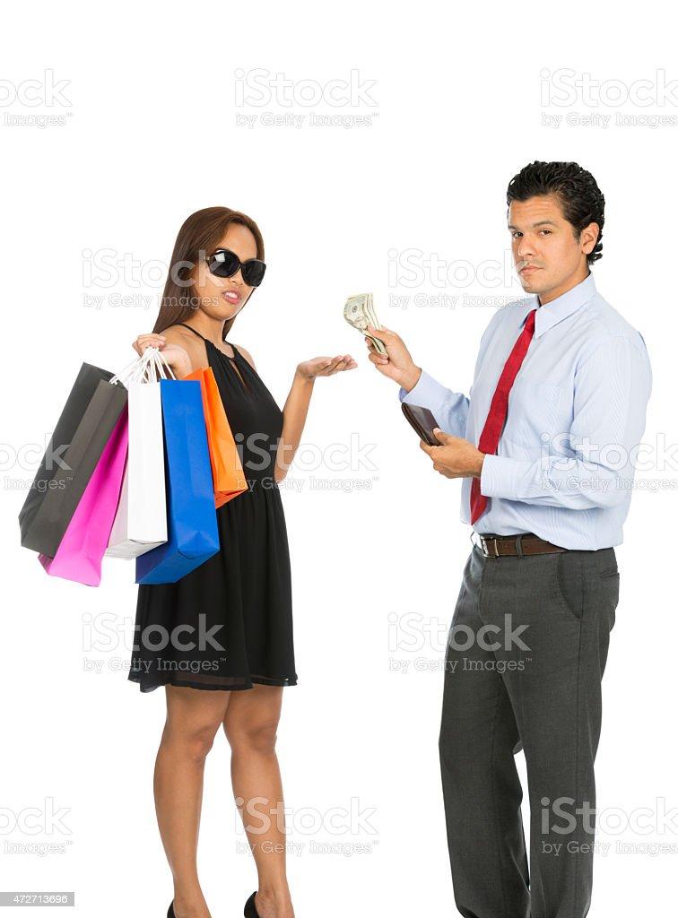 Asian Woman Shopper Accepting Money Husband At V stock photo