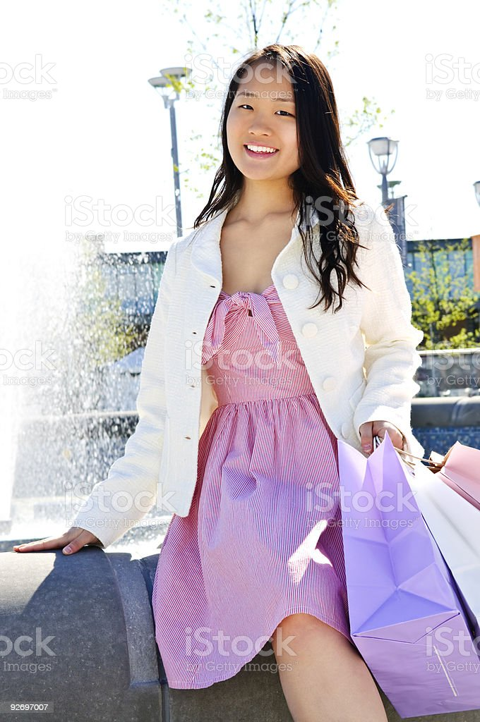 Asian woman shopping royalty-free stock photo