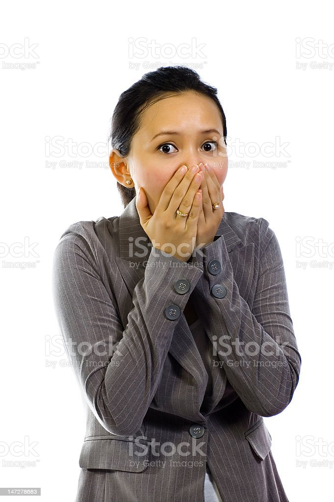 Asian Woman Shut Her Mouth stock photo