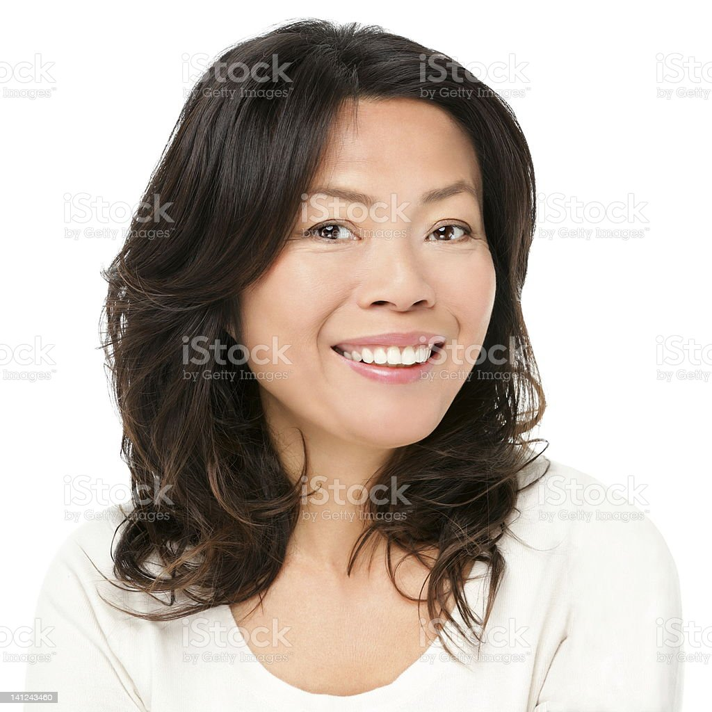 Asian woman smiling happy stock photo