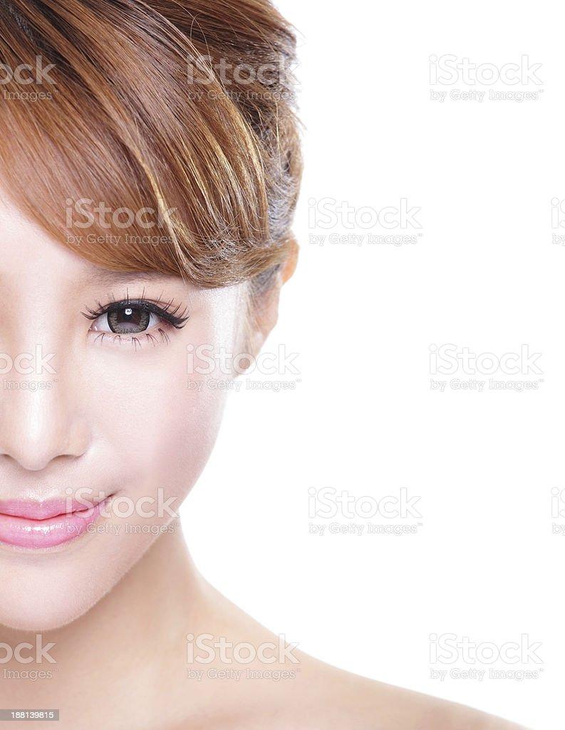 Asian woman smiling on white background stock photo