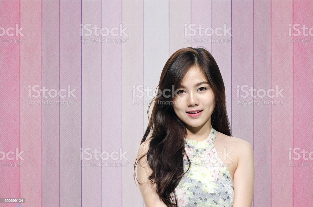 Asian woman smiling with dimple long hair stock photo