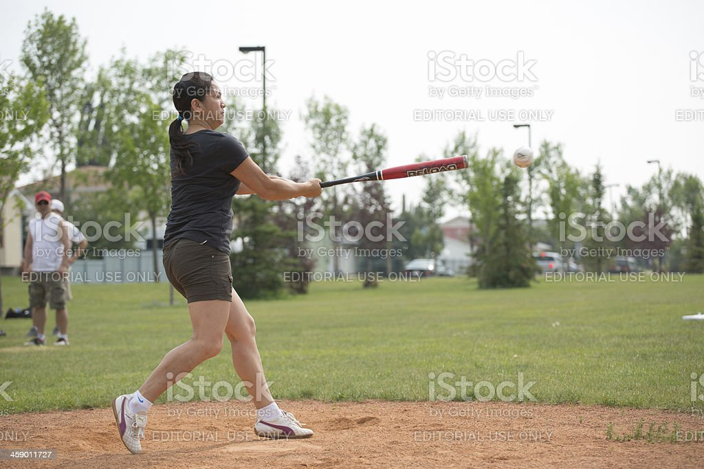 Asian woman softball player royalty-free stock photo