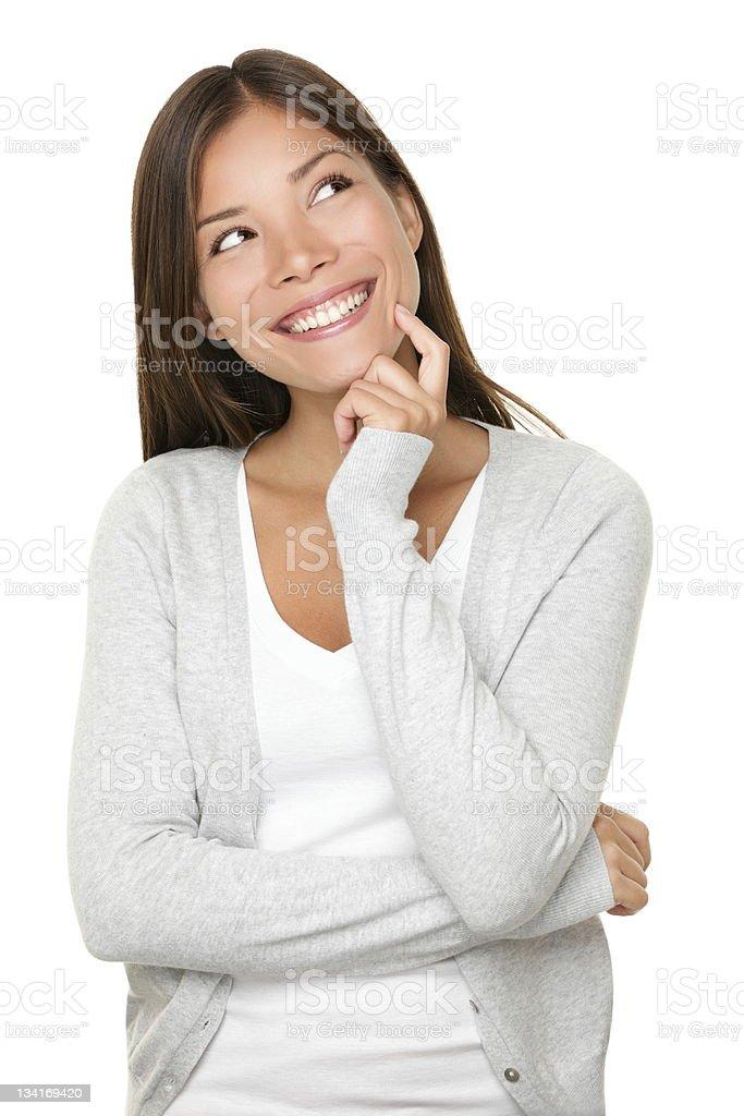 Asian woman thinking stock photo