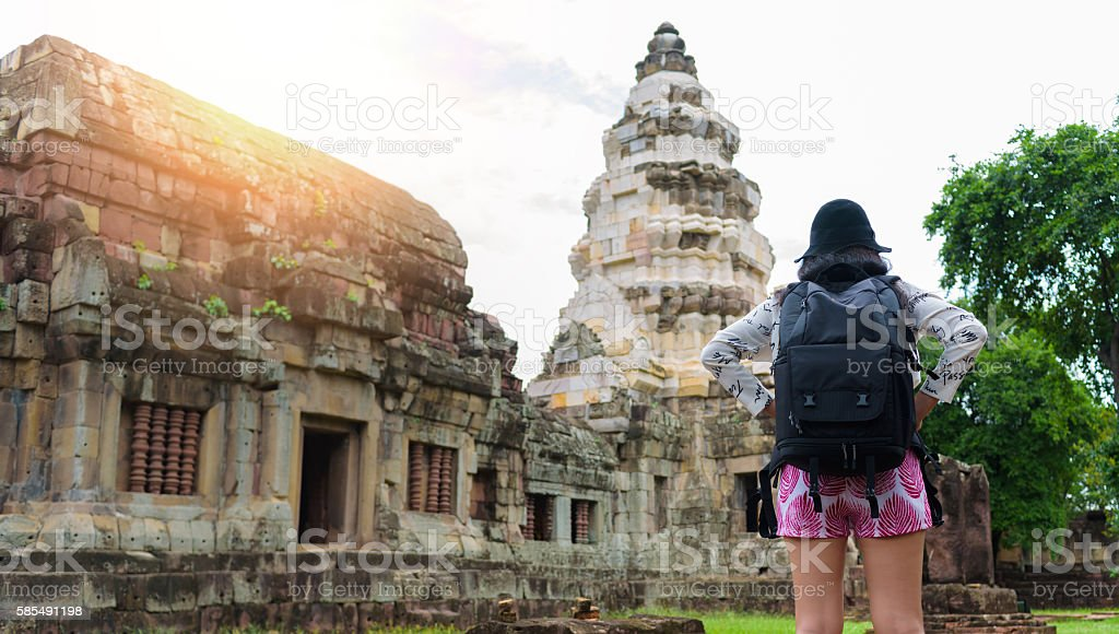 Asian woman travel outdoor lifestyle at ancient in Thailand stock photo