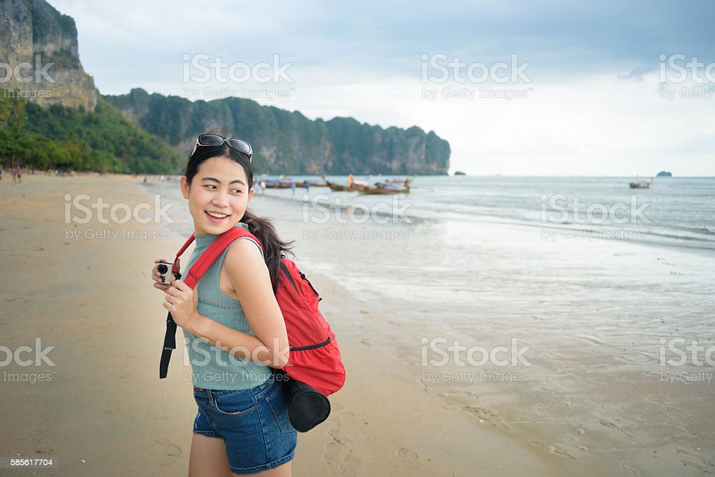 Asian woman travels summer lifestyle in Krabi beach, Thailand stock photo