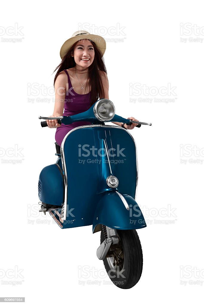 Asian woman using hat driving blue retro motorcycle stock photo