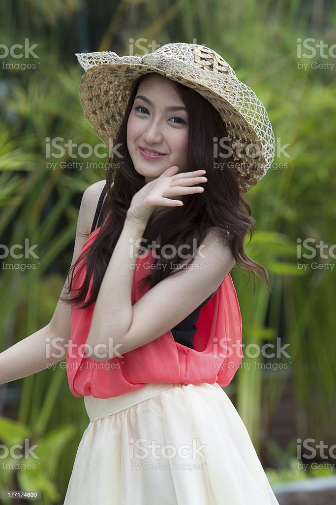 Asian woman wearing a cute hat royalty-free stock photo
