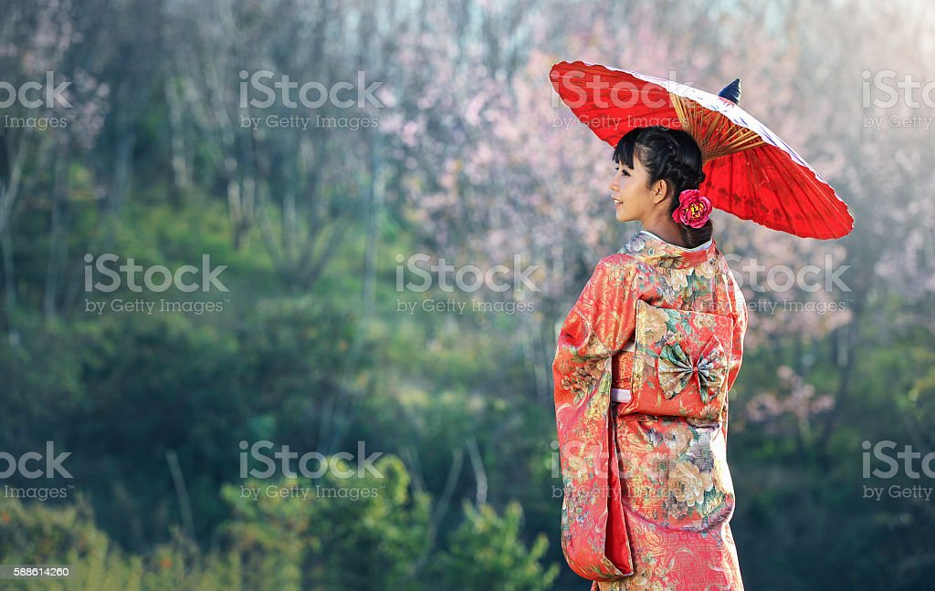 Asian woman wearing traditional japanese kimono, sakura background stock photo