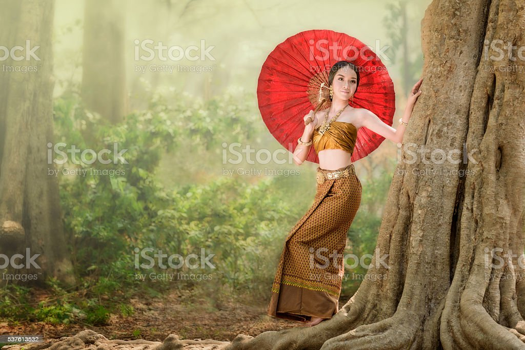 Asian woman wearing typical (Traditional) Thai dress stock photo