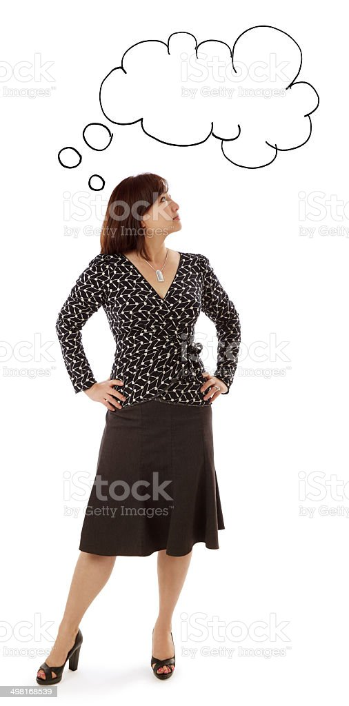 Asian Woman with a Cloud Idea Over her Head stock photo