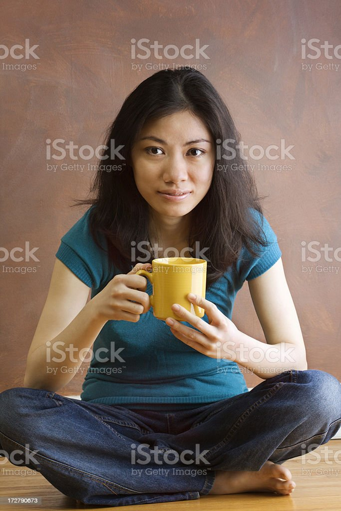 Asian Woman with Cup royalty-free stock photo