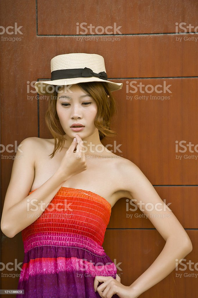 asian woman with Hat stock photo