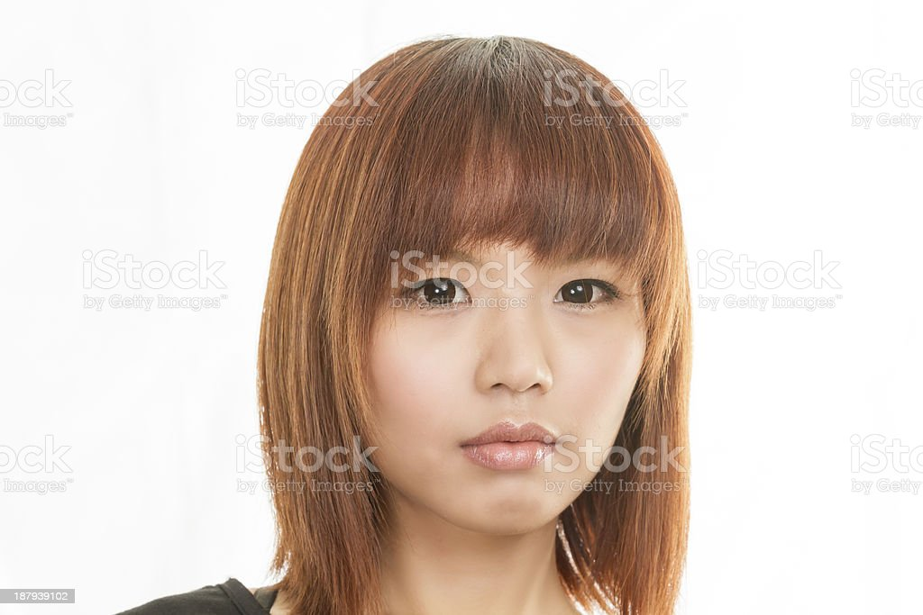 Asian woman with sad face royalty-free stock photo