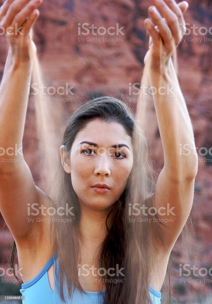 Asian Woman with Sand stock photo