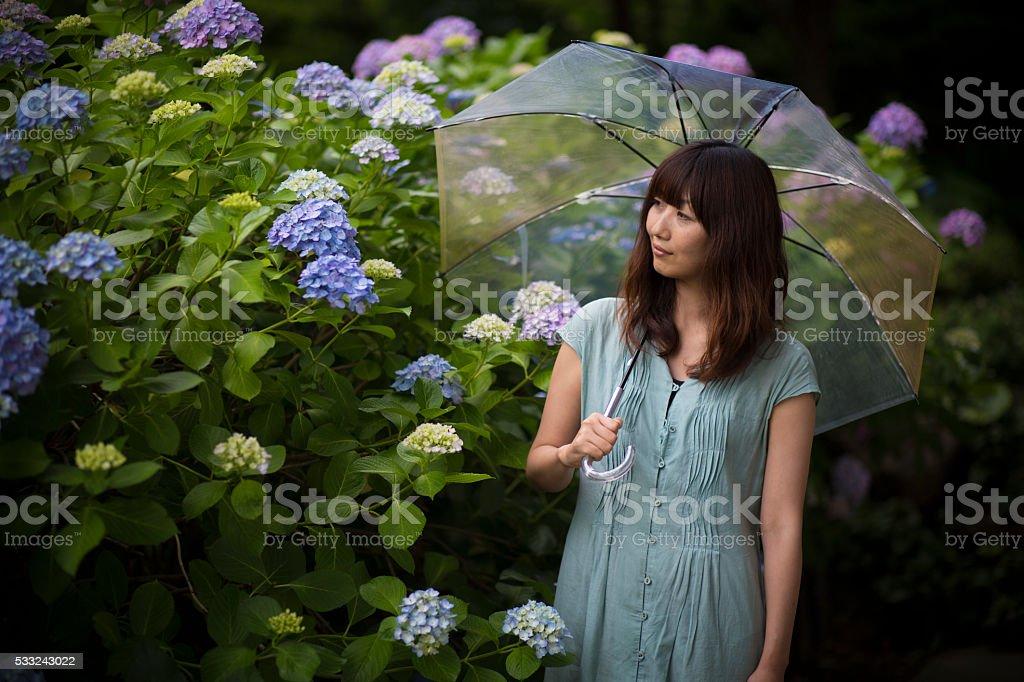 Asian Woman with umbrella stock photo
