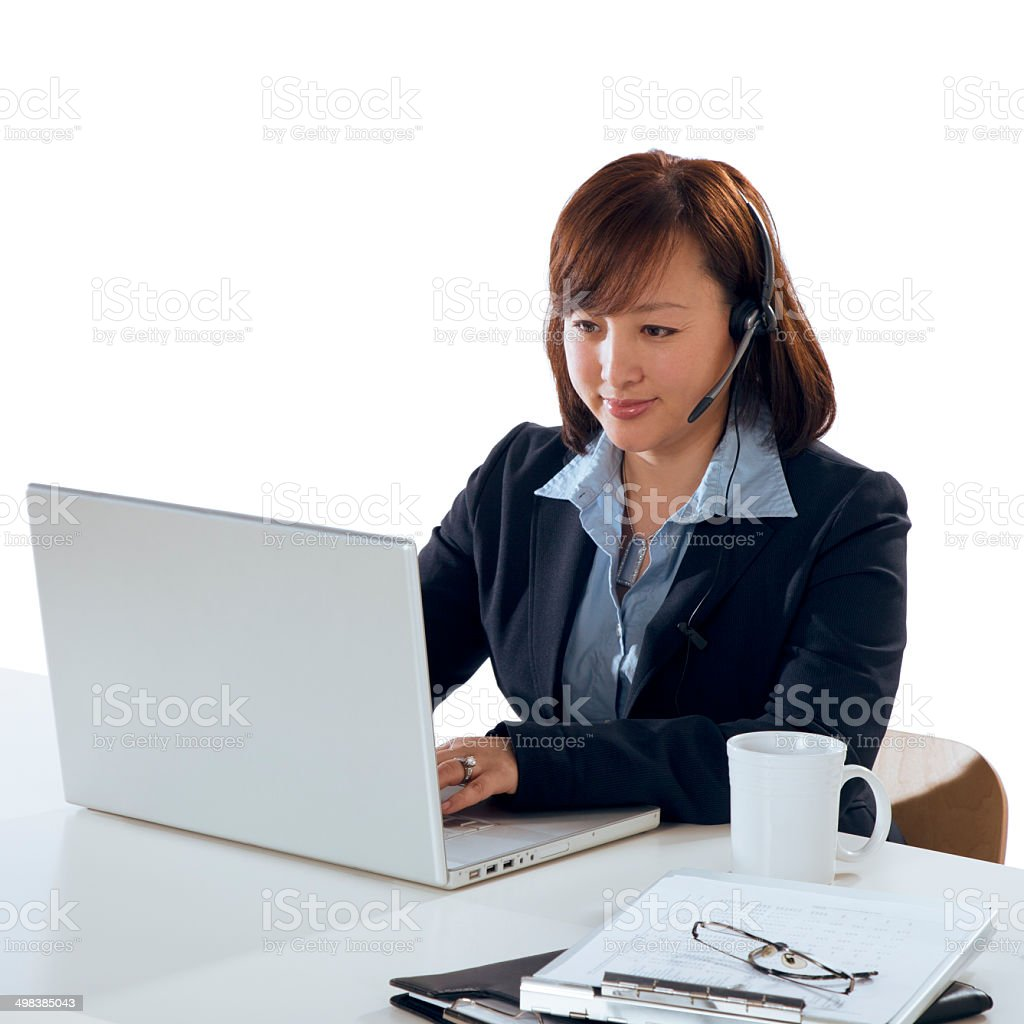 Asian Woman working on a Isolated White Background stock photo