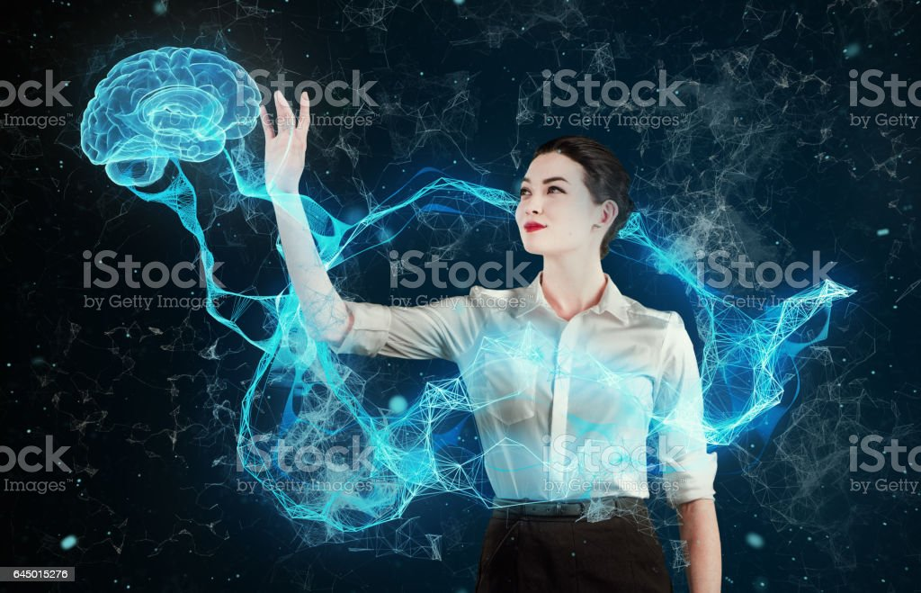 Asian woman working with virtual reality. Medical research stock photo