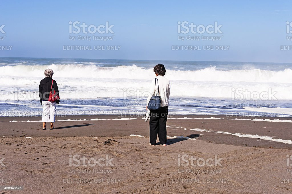 Asian Women at Ocean royalty-free stock photo