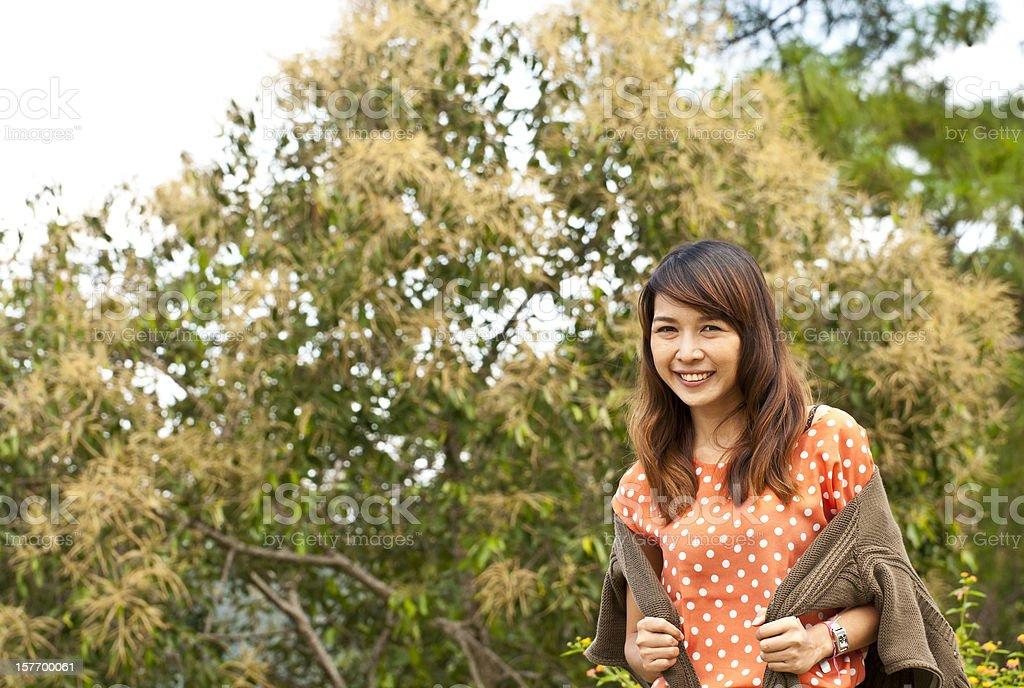 Azjatyckie kobiety w park zbiór zdjęć royalty-free