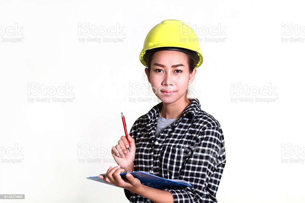 Asian women engineers and technicians are checking stock photo