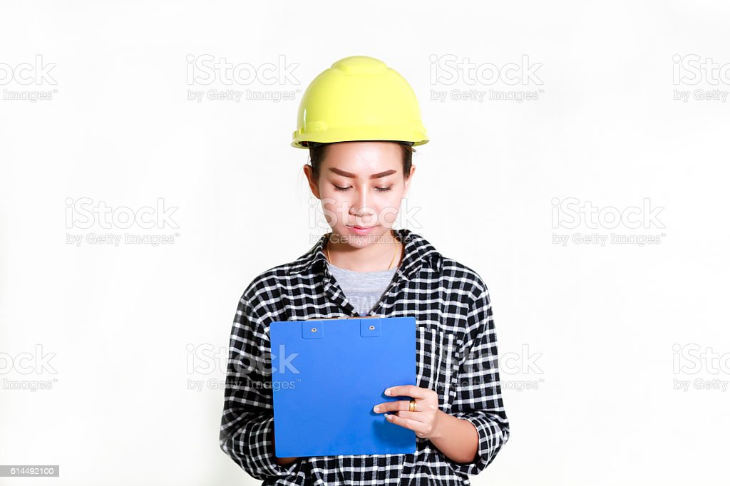 Asian women engineers and technicians are checking the list stock photo
